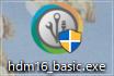 「HDM16_Basic_trial_32.exe」を管理者として実行して、インストールを始めます。