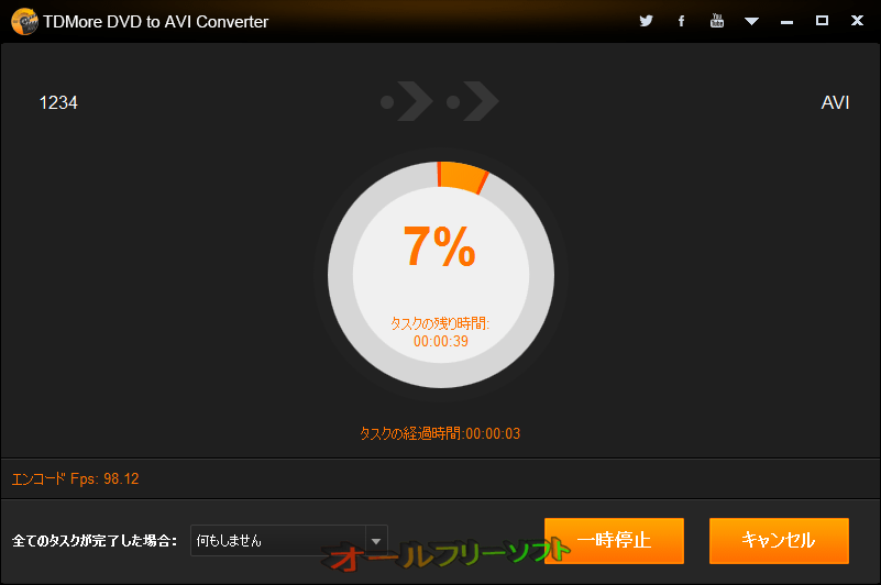 TDMore DVD to AVI Converter--リッピング中--オールフリーソフト
