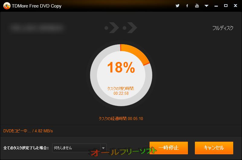 TDMore Free DVD Copy--リッピング中--オールフリーソフト