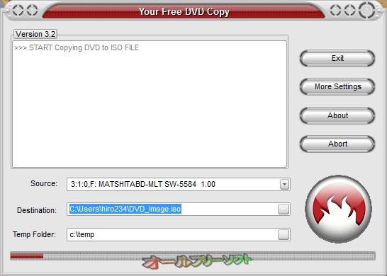 Your Free DVD Copy--リッピング中--オールフリーソフト