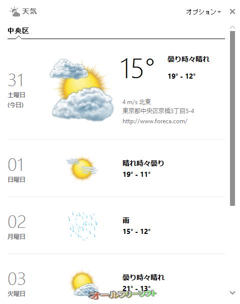 Bing デスクトップ--天気予報--オールフリーソフト