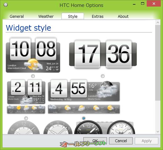 HTC Home--時計のオプション/Style--オールフリーソフト