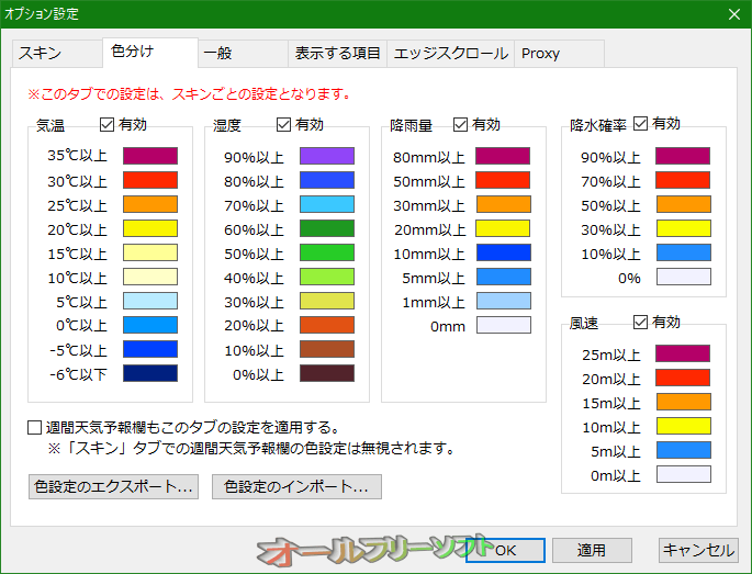 机上予報--オプション/色分け--オールフリーソフト
