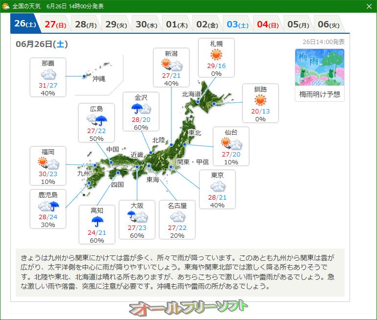 お天気状況--地図表示--オールフリーソフト