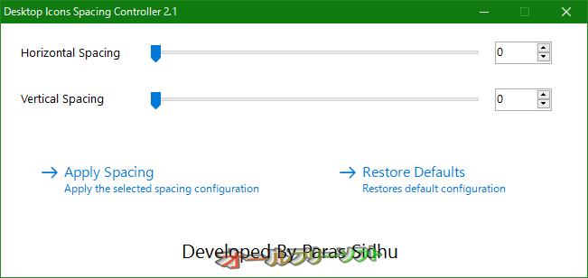 Desktop Icons Spacing Controller--起動時の画面--オールフリーソフト