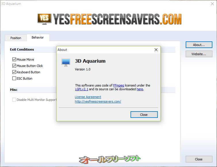 3D Aquarium Screensaver--About--オールフリーソフト