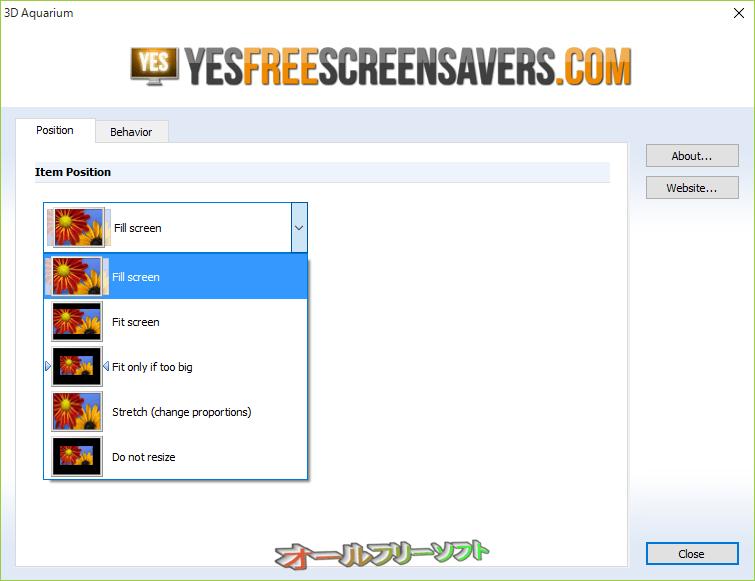 3D Aquarium Screensaver--Position--オールフリーソフト