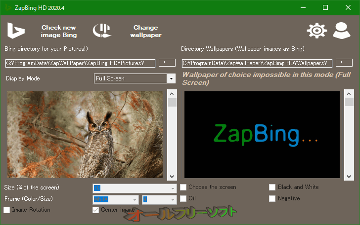 ZapBing--設定-オールフリーソフト
