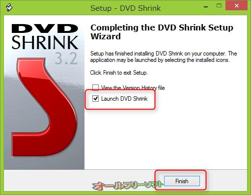 ●「Launch DVD Shrink」(DVD Shrinkを起動)にチェックがあるのを確認し「Finish」(完了)をクリックする。