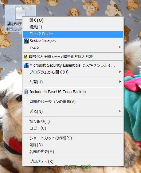 Files 2 Folder--右クリックメニュー--オールフリーソフト