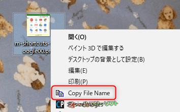 Copy File Name--右クリックメニュー--オールフリーソフト