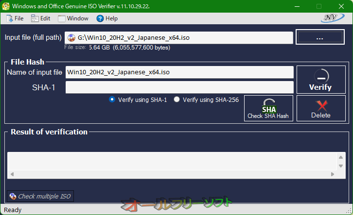 Windows and Office Genuine ISO Verifier--ISOファイル選択後--オールフリーソフト