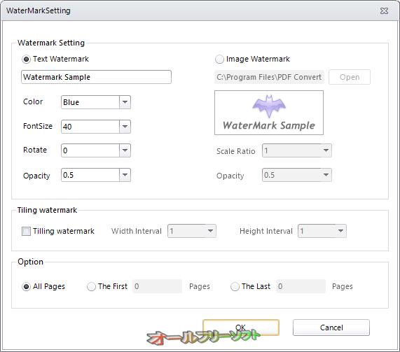 PDF Watermark(Free)--WaterMarkSetting--オールフリーソフト