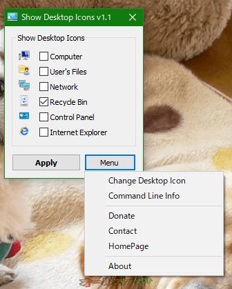 Show Desktop Icons--Menu--オールフリーソフト