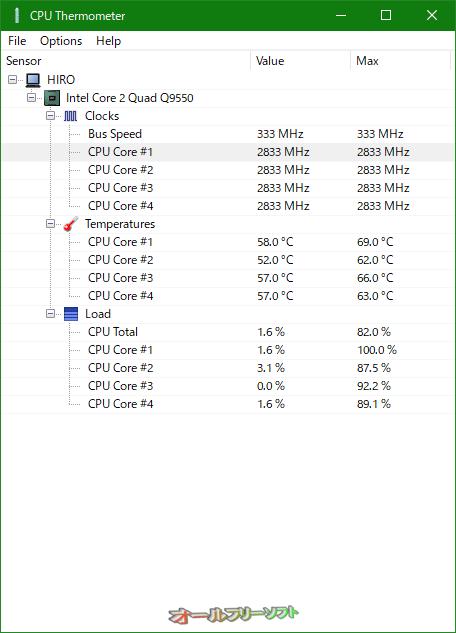 CPU Thermometer--起動時の画面--オールフリーソフト