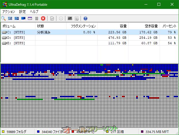 UltraDefrag--分析後--オールフリーソフト