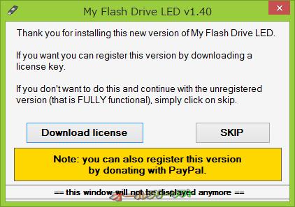 My Flash Drive LED--登録を促す画面--オールフリーソフト