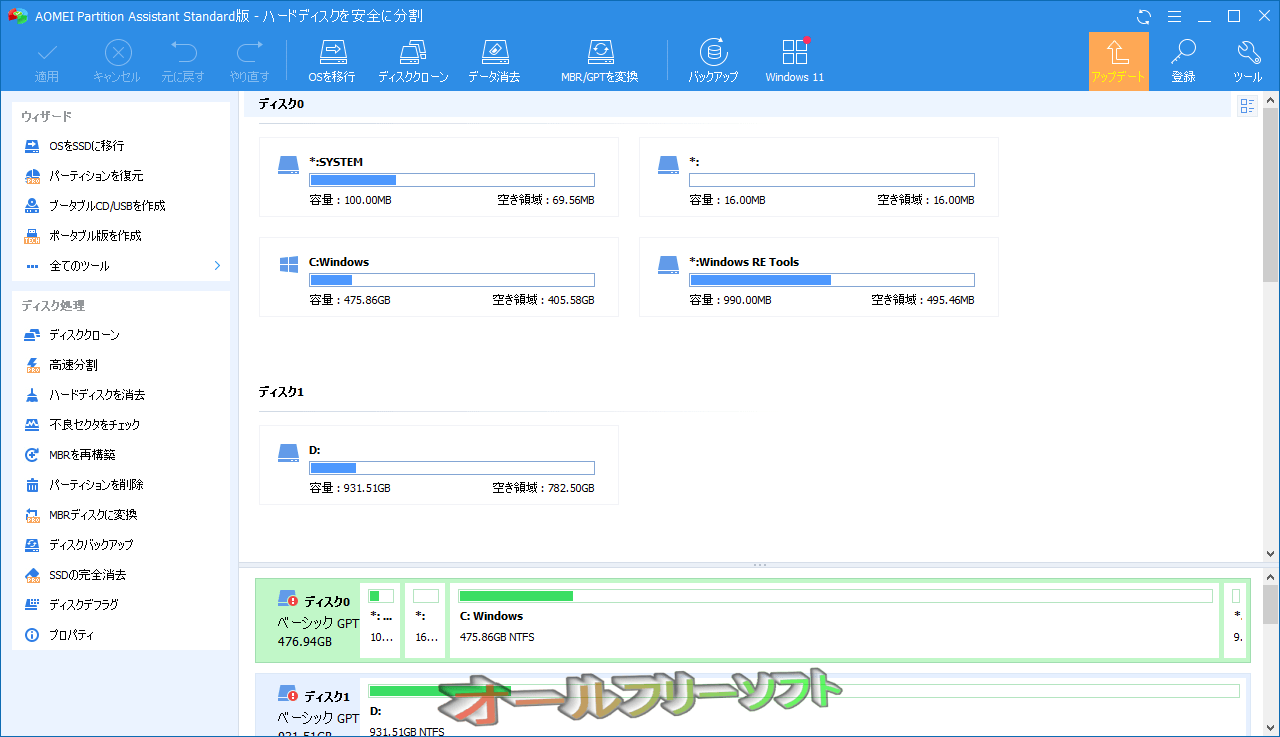 Aomei Partition Assistant  Standard Edition--起動時の画面--オールフリーソフト