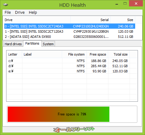 HDD Health--パーティション--オールフリーソフト