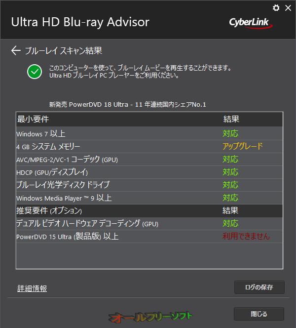 CyberLink Ultra HD Blu-ray Advisor--診断結果--オールフリーソフト