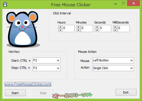 Free Mouse Clicker--起動時の画面--オールフリーソフト