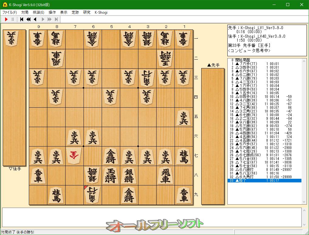 K-Shogi--対局後--オールフリーソフト