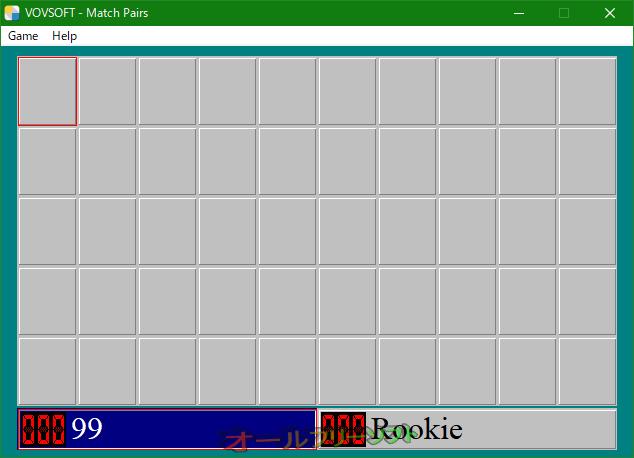 Match Pairs--起動時の画面--オールフリーソフト