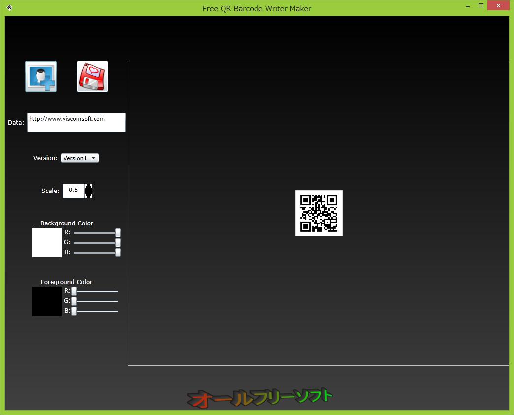 Free QR Barcode Generator--起動時の画面--オールフリーソフト