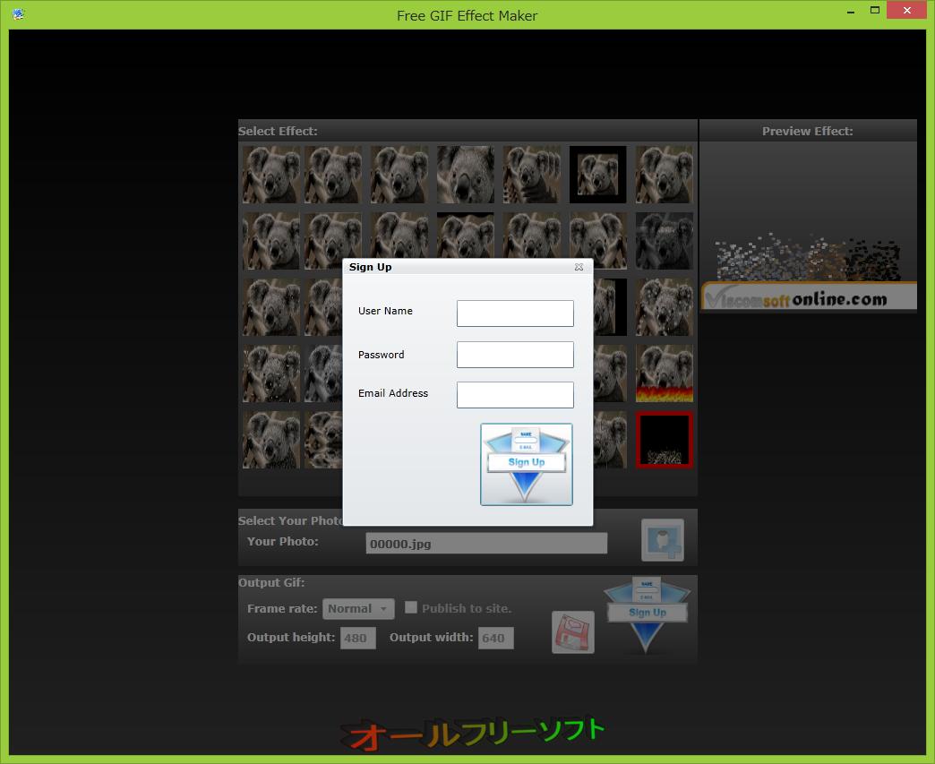 Free GIF Effect Maker--Sign Up--オールフリーソフト