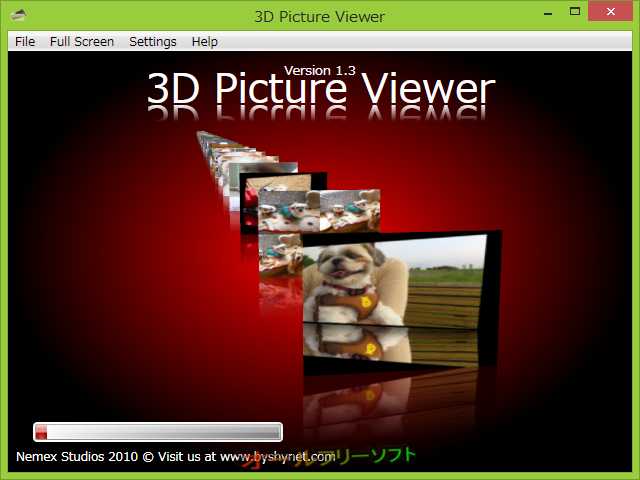 3D Picture Viewer--フォルダ読み込み中--オールフリーソフト