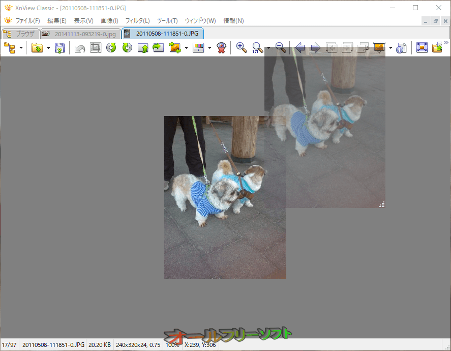 画像半蔵--半透明で表示--オールフリーソフト