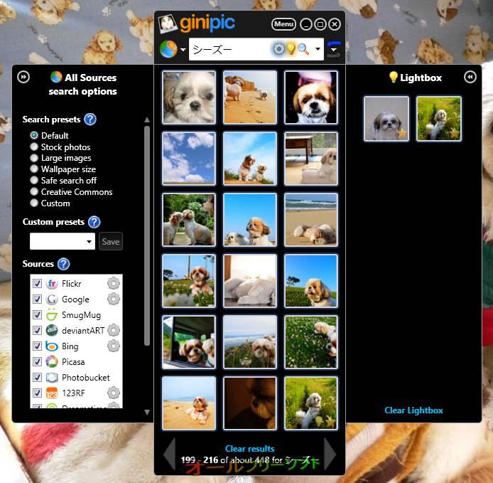 Ginipic--Search options/Lightbox--オールフリーソフト