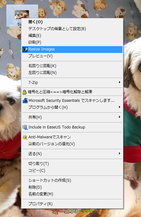 Resize Images--右クリックメニュー--オールフリーソフト
