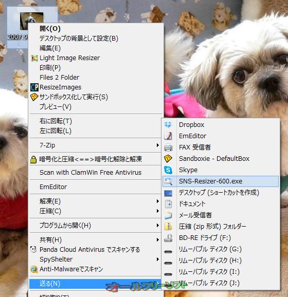SNS-Resizer--右クリックメニュー--オールフリーソフト