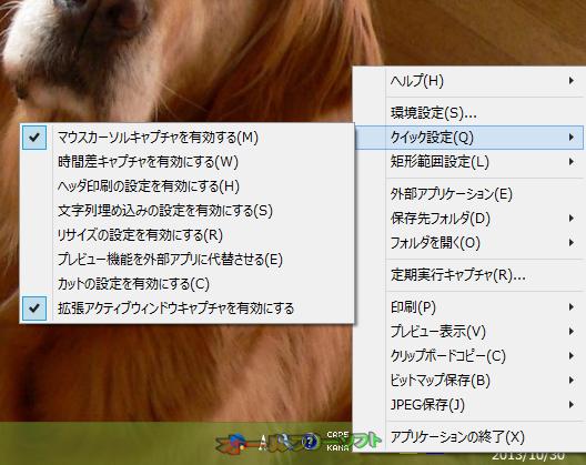 WinShot--タスクトレイメニュー--オールフリーソフト