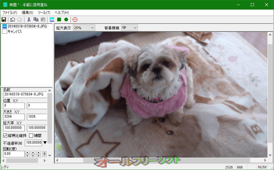 手軽に透明重ね--背景画像の読み込み後--オールフリーソフト