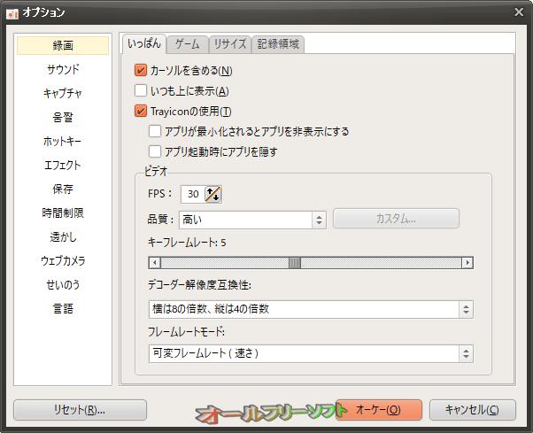 oCam--オプション/録画--オールフリーソフト