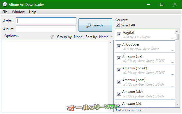 Album Art Downloader--起動時の画面--オールフリーソフト