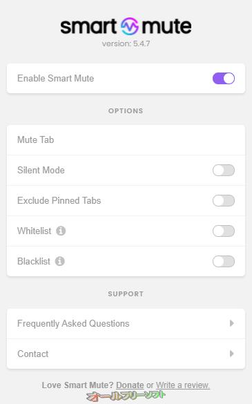 Smart Mute--ポップアップウィンドウ--オールフリーソフト