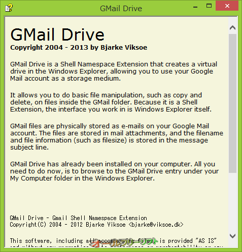GMail Drive shell extension--説明画面--オールフリーソフト