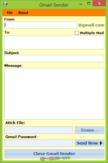 Gmail Sender--起動時の画面--オールフリーソフト