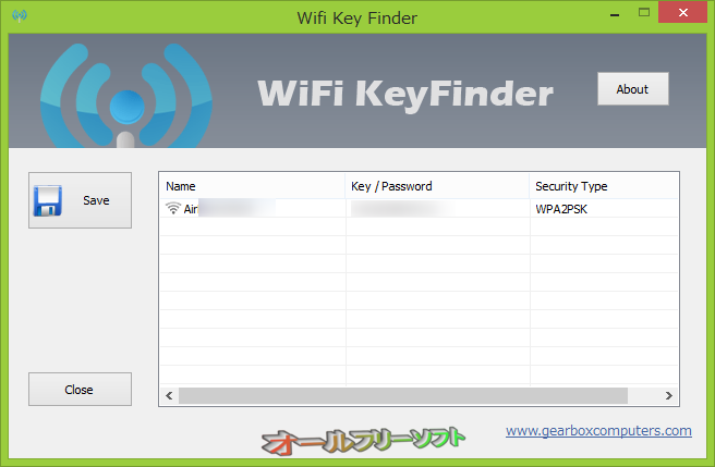Wifi Key Finder--起動時の画面--オールフリーソフト