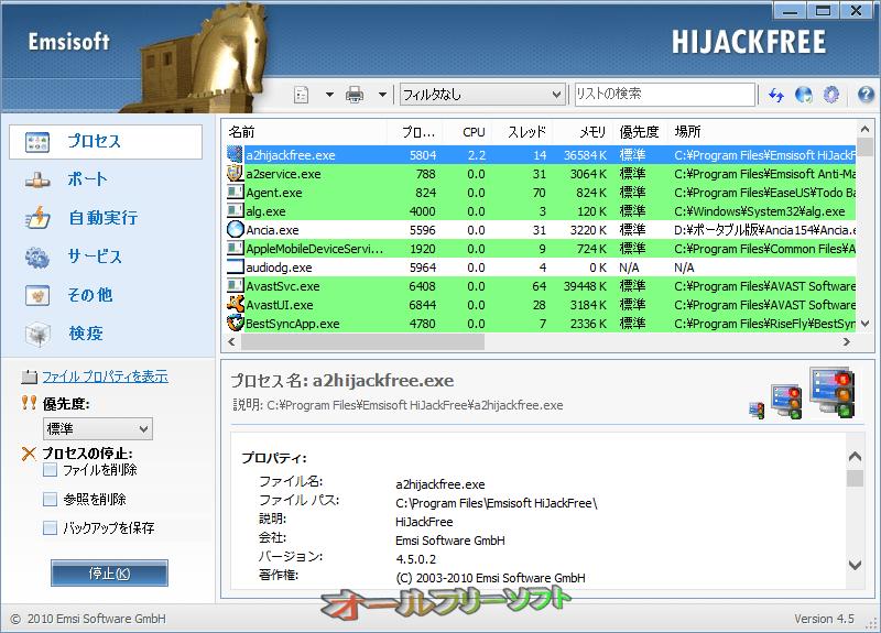 Emsisoft HiJackFree--プロセス--オールフリーソフト