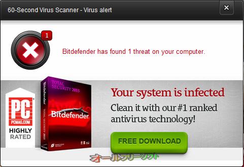 Bitdefender 60-Second Virus Scanner--Virus alert--オールフリーソフト