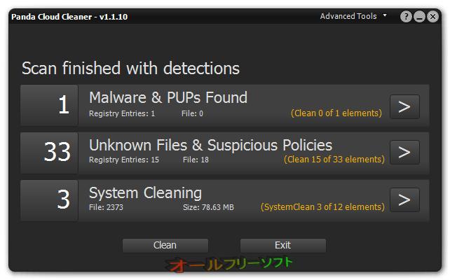 Panda Cloud Cleaner--スキャン後-オールフリーソフト