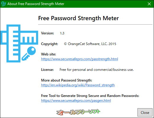Free Password Strength Meter--About--オールフリーソフト