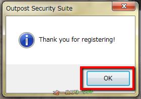 15.「Thank you for registering!」 と表示されたら、「OK」をクリックして完了。