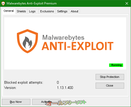 Malwarebytes Anti-Exploit--General タブ--オールフリーソフト