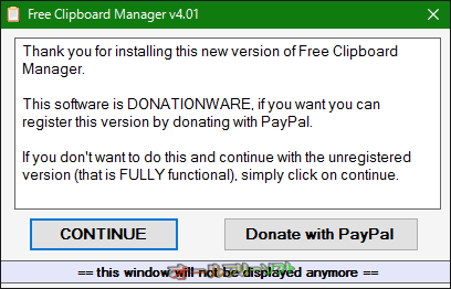 Free Clipboard Manager--登録を促す画面--オールフリーソフト