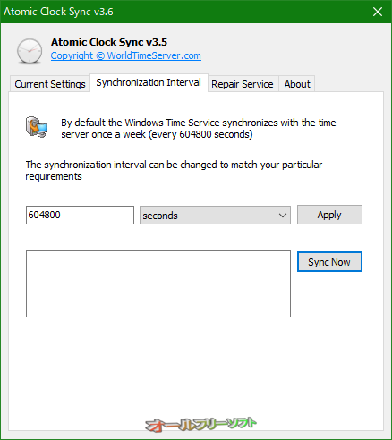 Atomic Clock Sync--Current Settings--オールフリーソフト